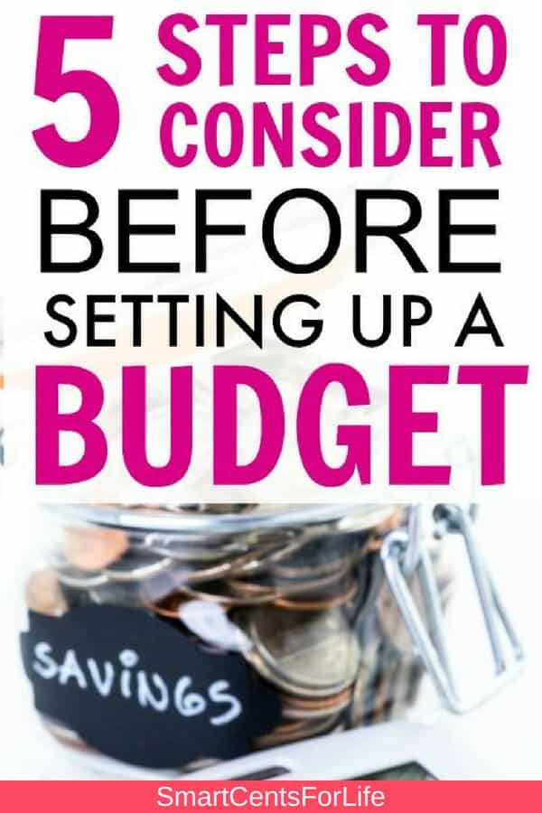 Check out these crucial steps to consider before setting your first budget! Improve your finances, save more money and pay off debt by following these 5 easy steps. Budget tips, budgeting, frugal living, saving money