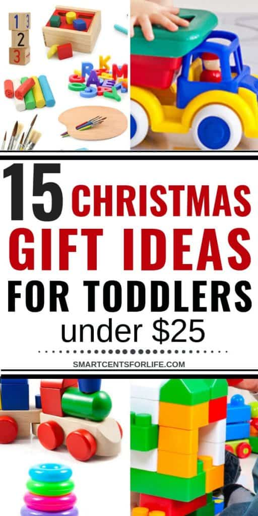 Find out the best Christmas gift ideas for toddlers under $25! These kids toys are perfect for 18 months to 3 years old toddlers! Your kids will have lots of fun with these great affordable toys for toddlers! These kids toys are great for Christmas gifts, stocking stuffers, birthdays or any other occasion! They encourage imagination and creativity! #Christmas #GiftGuides #Kidstoys