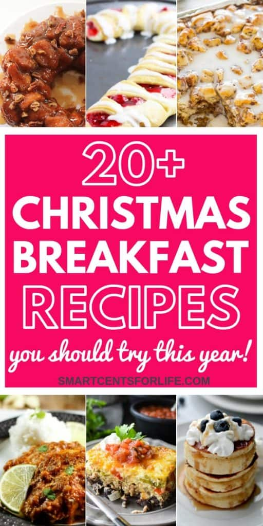 20+ Christmas breakfast recipes to enjoy on Christmas morning! These recipes are easy to make and they will please everyone including the kids! Whether you are looking for some Christmas breakfast ideas for Christmas morning, Christmas Eve or any other day, there are plenty of amazing breakfast and brunch ideas to choose from! You can make ahead or cook overnight these breakfast recipes to enjoy these Holiday season #Christmas #Breakfast #Christmasday #Christmasrecipes #Holidays