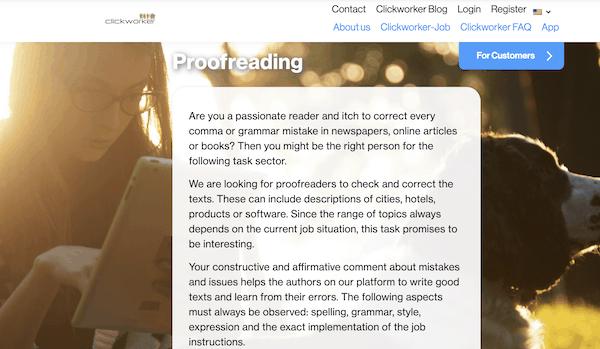 Clickworker screenshot for proofreading jobs for beginners
