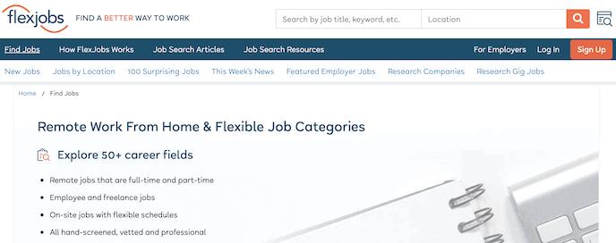 FlexJobs screenshot