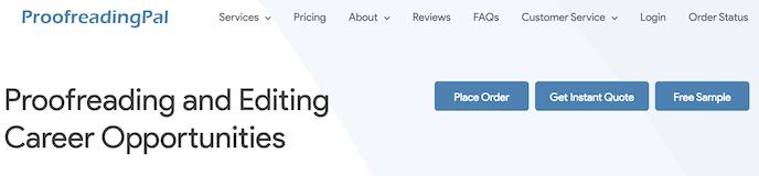 ProofreadingPal screenshot for online proofreading jobs